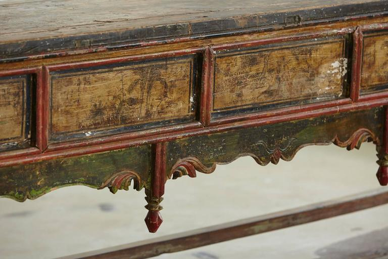 19th Century Long Antique Hand-Carved and Painted Chinese Altar Table For Sale