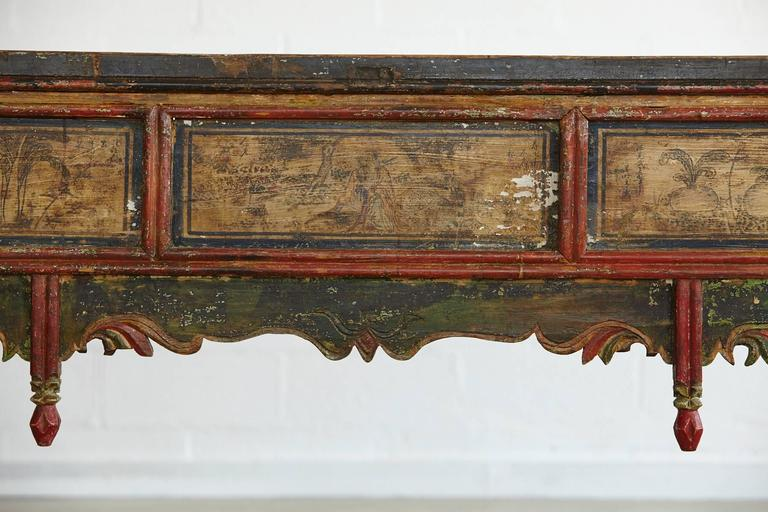 Elm Long Antique Hand-Carved and Painted Chinese Altar Table For Sale
