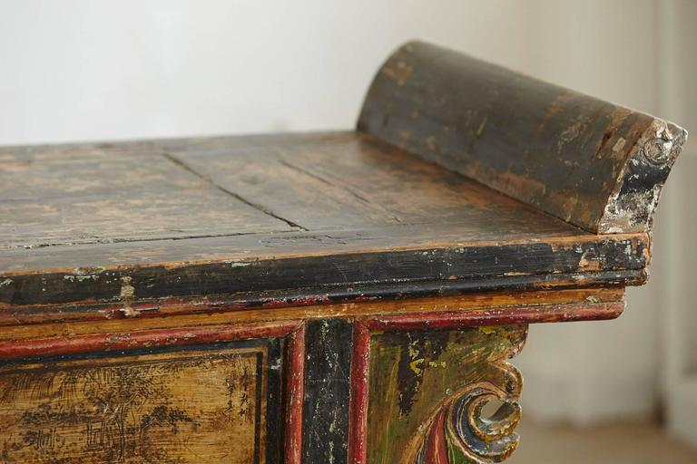 Long Antique Hand-Carved and Painted Chinese Altar Table For Sale 1