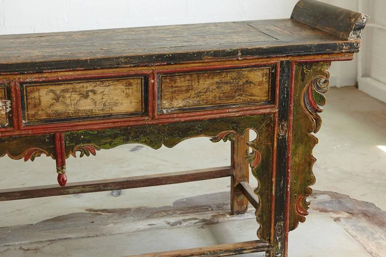 Long Antique Hand-Carved and Painted Chinese Altar Table For Sale 2