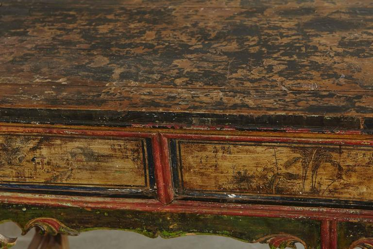 Long Antique Hand-Carved and Painted Chinese Altar Table For Sale 5