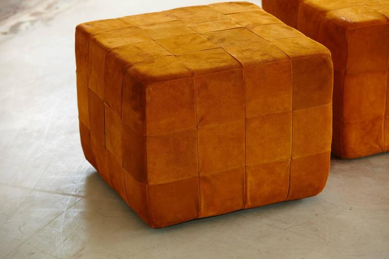 Pair Of Cognac Colored Buckskin Ottomans By Stendig Made