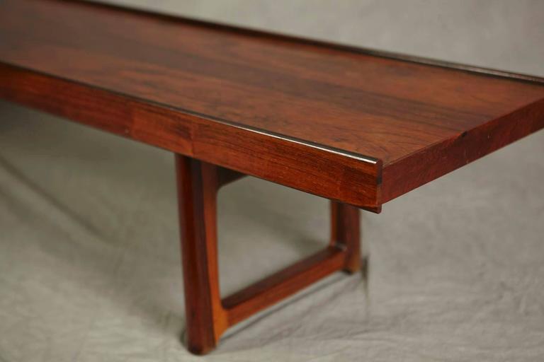 Scandinavian Modern Minimalist Rosewood Bench 'Korbo' by Torbjørn Afdal for Mellemstrands / Bruksbo