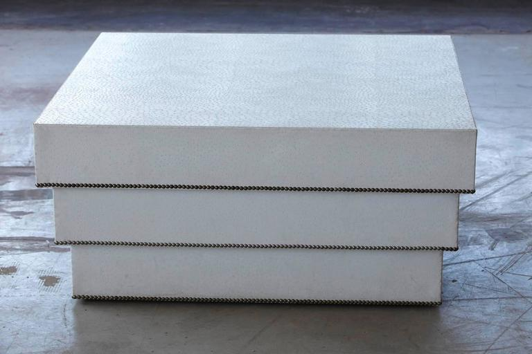 Custom Made White Faux Ostrich Leather Coffee Table With Nailhead Trim For Sale At 1stdibs