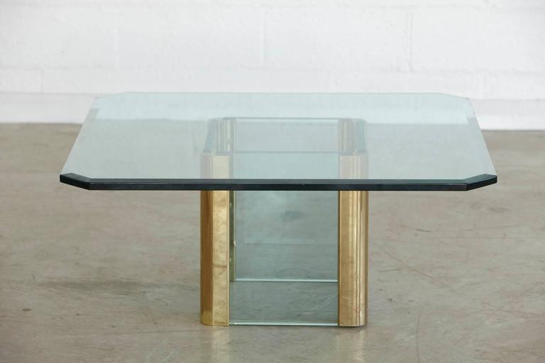 Brass Coffee Table with an Octagonal Beveled Glass Top by Leon Rosen for Pace For Sale 3