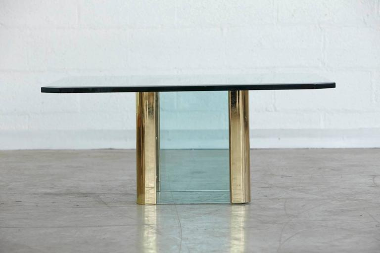 Modern Brass Coffee Table with an Octagonal Beveled Glass Top by Leon Rosen for Pace For Sale