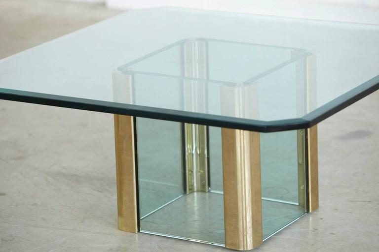American Brass Coffee Table with an Octagonal Beveled Glass Top by Leon Rosen for Pace For Sale