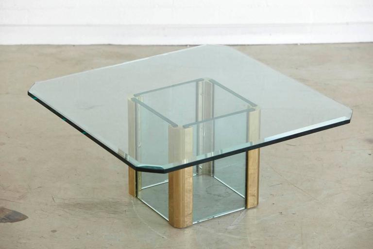 Brass Coffee Table with an Octagonal Beveled Glass Top by Leon Rosen for Pace For Sale 2
