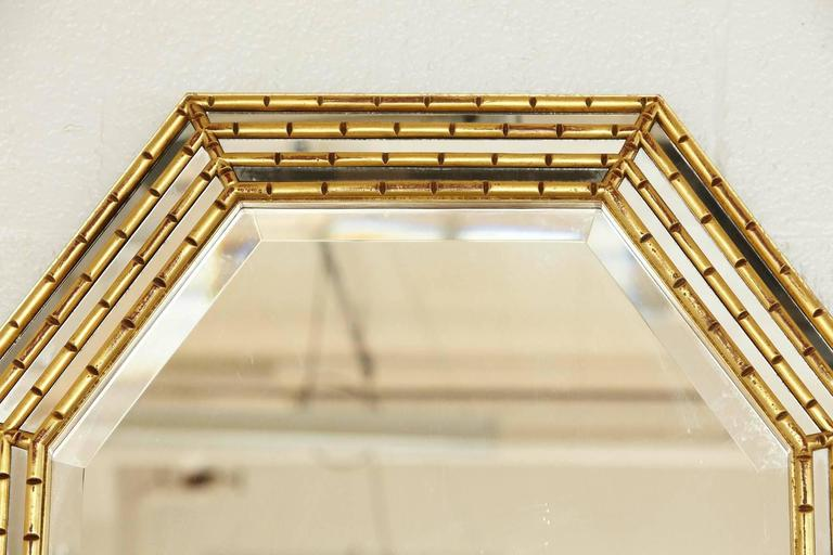 Hollywood Regency Gilded Octagonal Faux Bamboo Mirror with Beveled Glass by La Barge For Sale