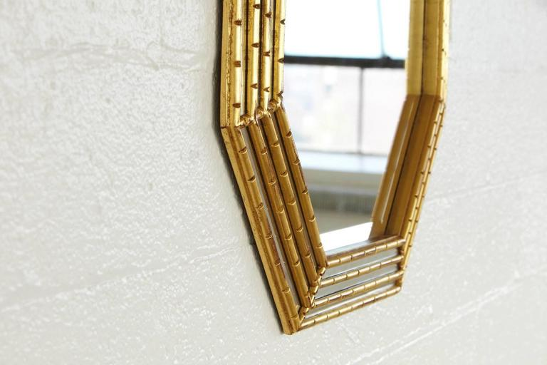 Gilded Octagonal Faux Bamboo Mirror with Beveled Glass by La Barge 4