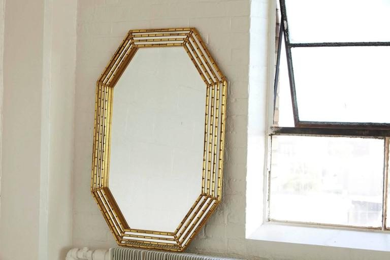Late 20th Century Gilded Octagonal Faux Bamboo Mirror with Beveled Glass by La Barge For Sale