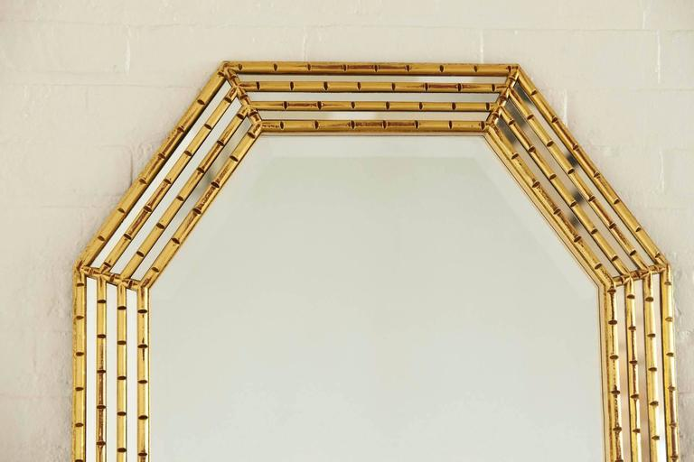 Gilded Octagonal Faux Bamboo Mirror with Beveled Glass by La Barge 8
