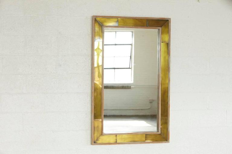 Modern Wall Mirror with Lacquered Brass Inlays and White Washed Wood Frame 2