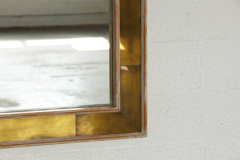 Modern Wall Mirror with Lacquered Brass Inlays and White Washed Wood Frame 4