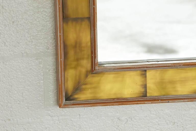 Modern Wall Mirror with Lacquered Brass Inlays and White Washed Wood Frame 3