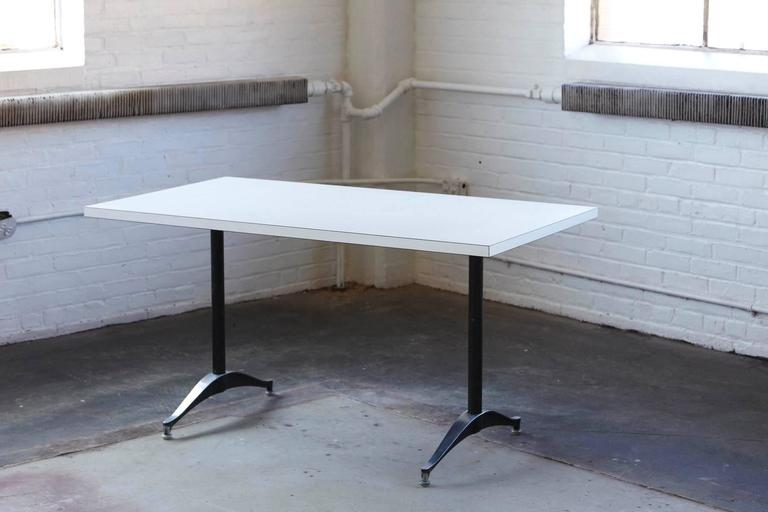 White Rectangular Dining Or Work Table By Eames For Herman