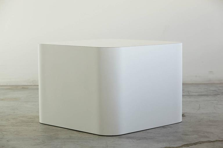 Custom-made white laminate cubic end table, pedestal or display. The laminate is pure white and not yellowed. This is the larger version, we also offer a smaller version, see last photo and additional 1stdibs offer. Dimensions for the smaller cube