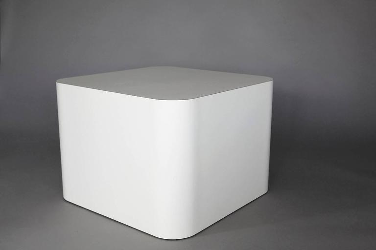 American Custom Made White Laminate Cubic End Table or Pedestal, Large For Sale