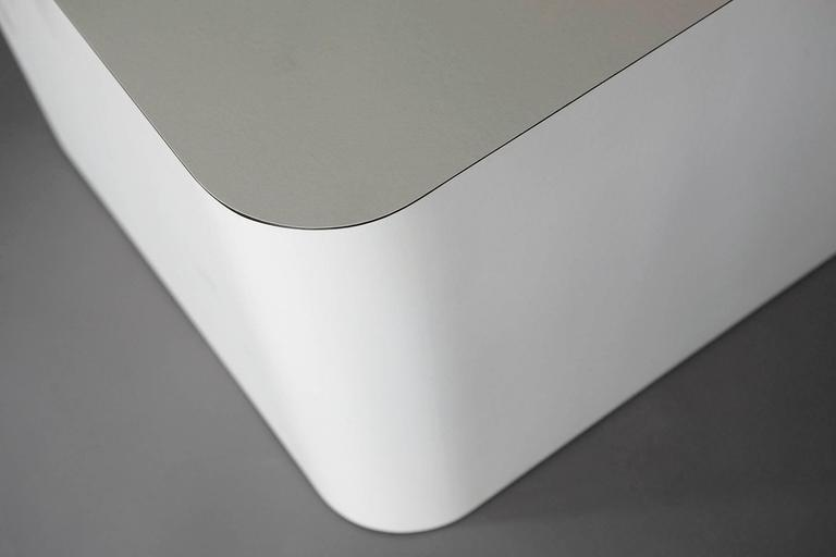 Custom Made White Laminate Cubic End Table or Pedestal, Large For Sale 1