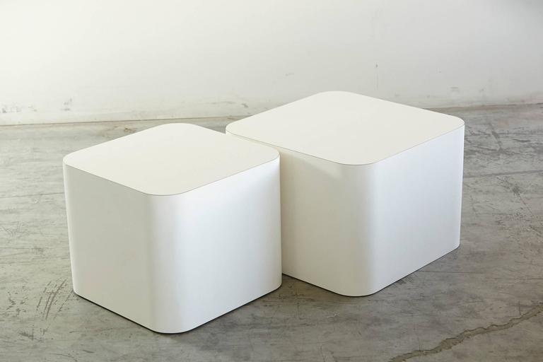 Custom-Made White Laminate Cubic End Table or Pedestal, Small 3