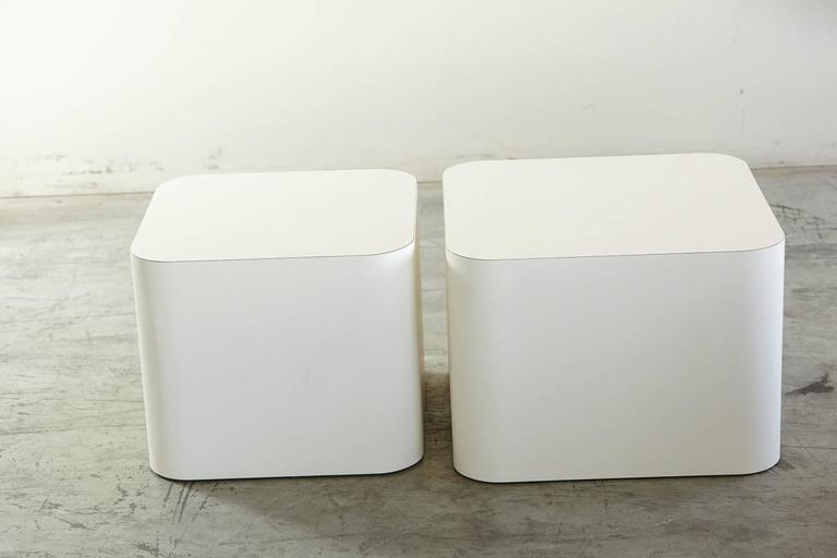 Custom-Made White Laminate Cubic End Table or Pedestal, Small 4