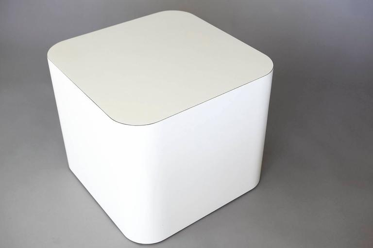 Custom-Made White Laminate Cubic End Table or Pedestal, Small 5