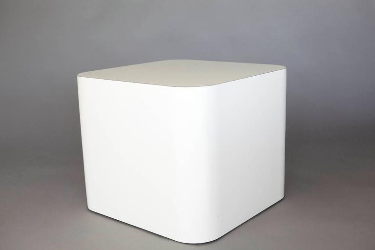 Custom-Made White Laminate Cubic End Table or Pedestal, Small 6