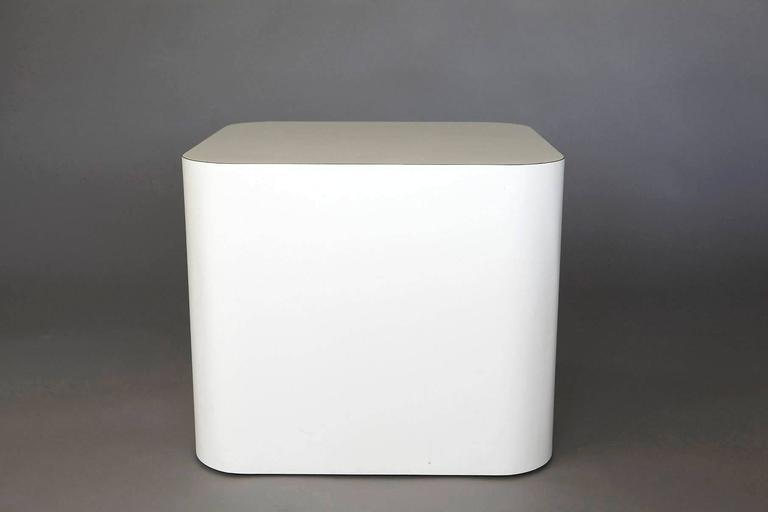 Custom-Made White Laminate Cubic End Table or Pedestal, Small 7