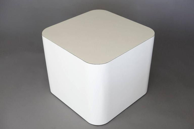 Custom-Made White Laminate Cubic End Table or Pedestal, Small 8