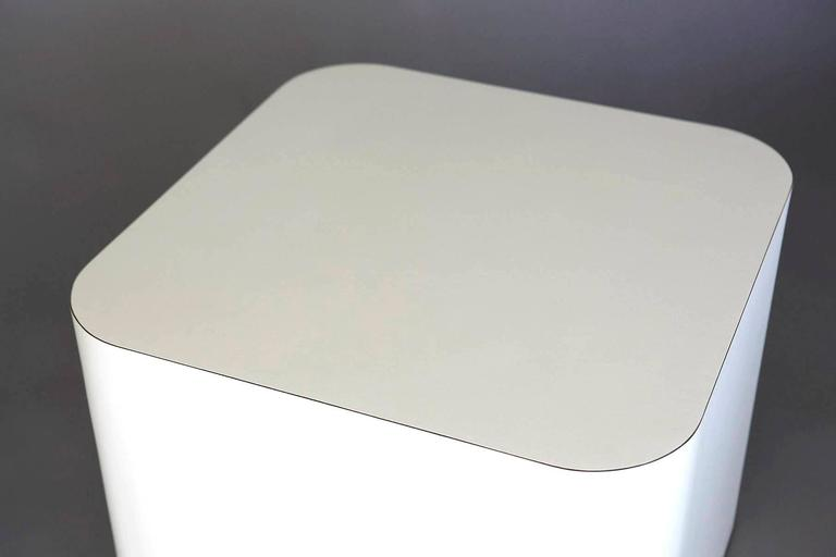 Custom-Made White Laminate Cubic End Table or Pedestal, Small 9