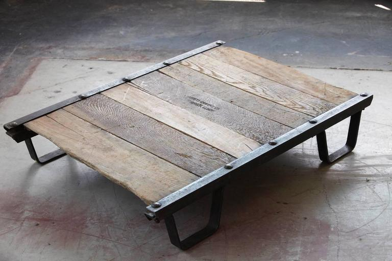 American Vintage Industrial Steel and Wood Skid Platform, Low Coffee Table For Sale