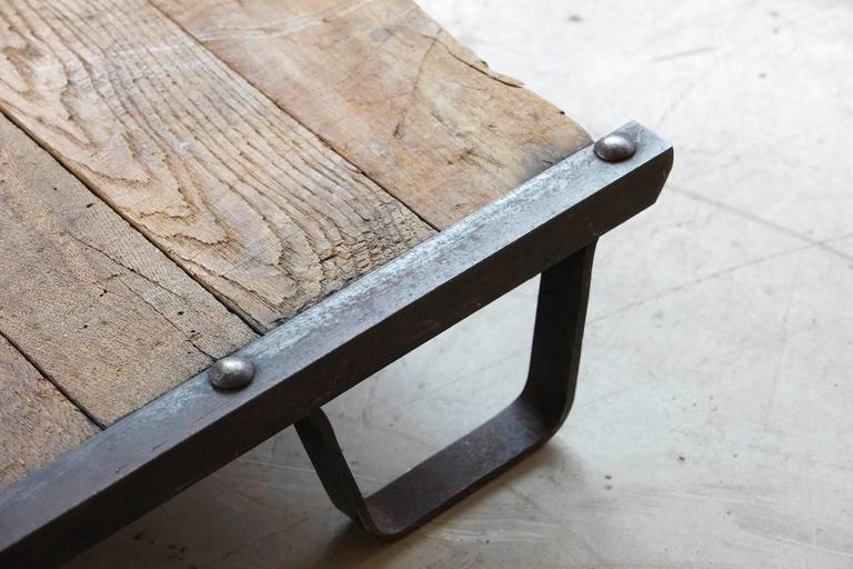 20th Century Vintage Industrial Steel and Wood Skid Platform, Low Coffee Table For Sale