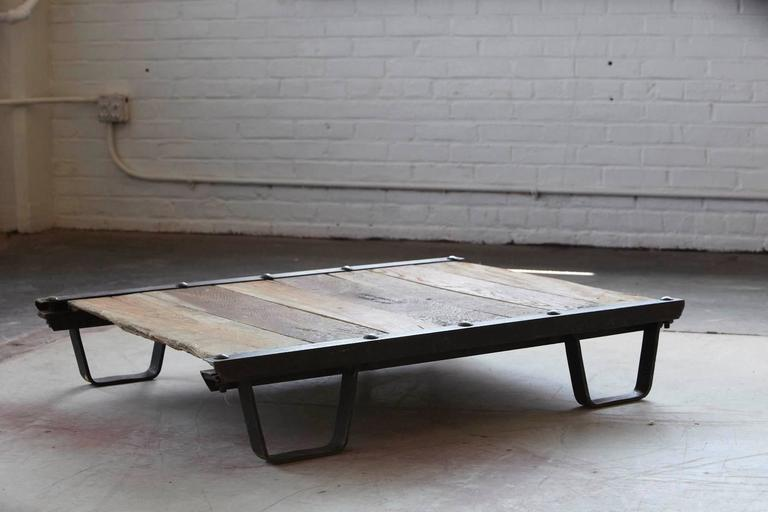 Vintage Industrial Steel and Wood Skid Platform, Low Coffee Table For Sale 1