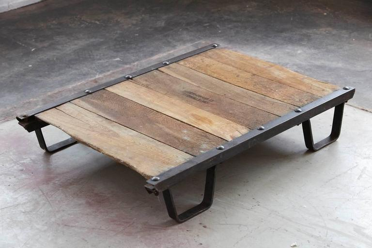Vintage Industrial Steel and Wood Skid Platform, Low Coffee Table For Sale 3