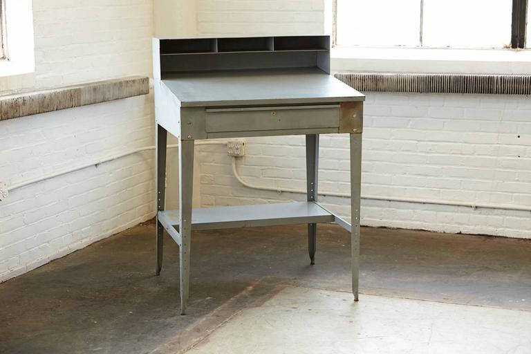 American Vintage Industrial Painted Steel Stand Up Factory Foreman Desk For Sale