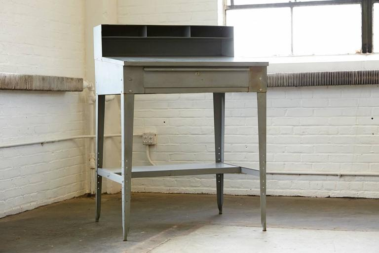 Vintage Industrial Painted Steel Stand Up Factory Foreman Desk In Distressed Condition For Sale In Westport, CT