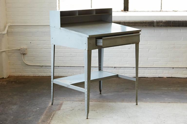 Vintage Industrial Painted Steel Stand Up Factory Foreman Desk For Sale 3