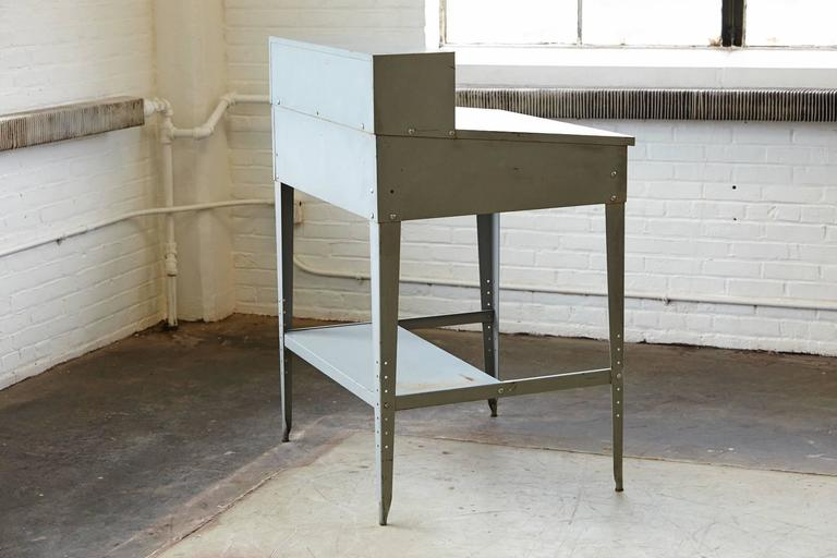 Vintage Industrial Painted Steel Stand Up Factory Foreman Desk For Sale 4