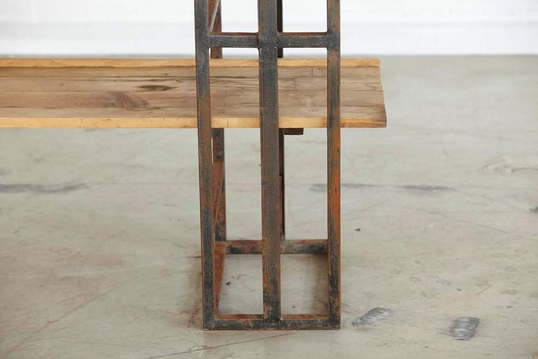 Mid-20th Century Custom-Made Adjustable Industrial Style Steel and Wood Plank Etagere For Sale