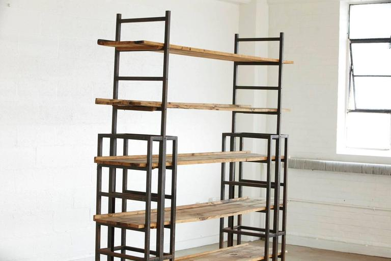 Welded Custom-Made Adjustable Industrial Style Steel and Wood Plank Etagere For Sale