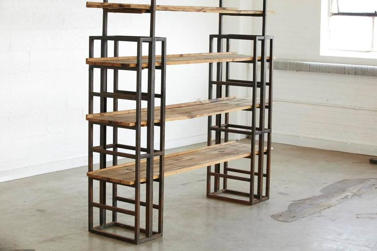 Custom-Made Adjustable Industrial Style Steel and Wood Plank Etagere In Good Condition For Sale In Weston, CT