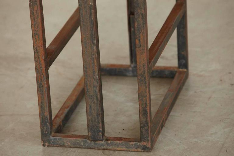 Custom-Made Adjustable Industrial Style Steel and Wood Plank Etagere For Sale 2
