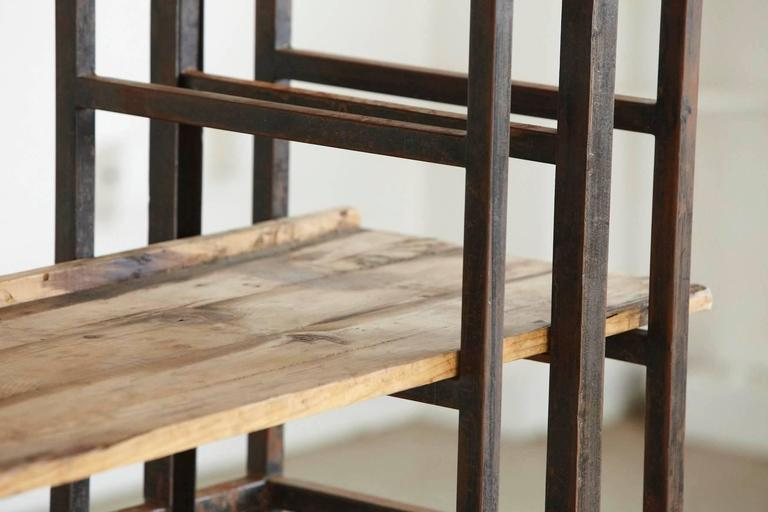 Custom-Made Adjustable Industrial Style Steel and Wood Plank Etagere For Sale 3