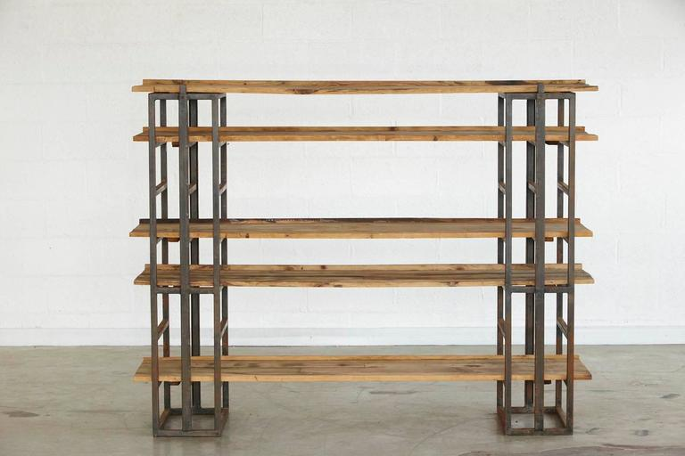 American Custom-Made Adjustable Industrial Style Steel and Wood Plank Etagere For Sale