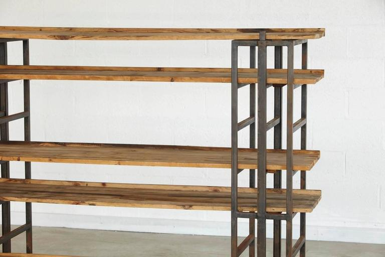 Custom-Made Adjustable Industrial Style Steel and Wood Plank Etagere For Sale 4