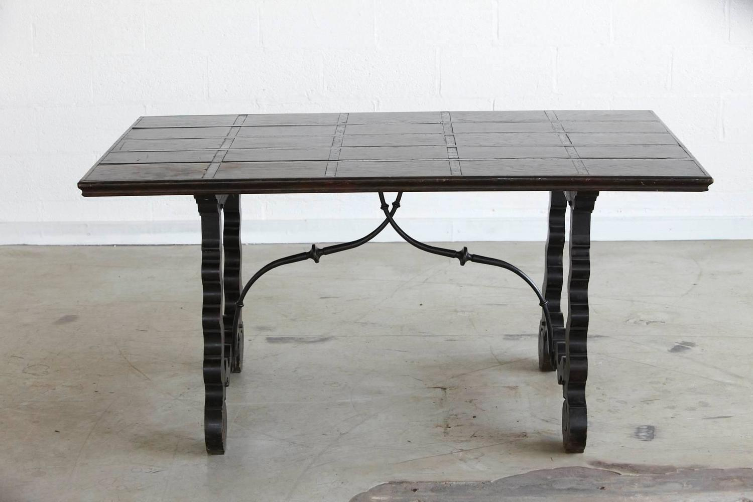 spanish colonial style stretcher trestle table for sale at 1stdibs. Black Bedroom Furniture Sets. Home Design Ideas