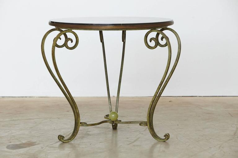 Wrought Iron Side Table with Black Marble Top with Geometric Inlays, circa 1940s In Good Condition For Sale In Weston, CT