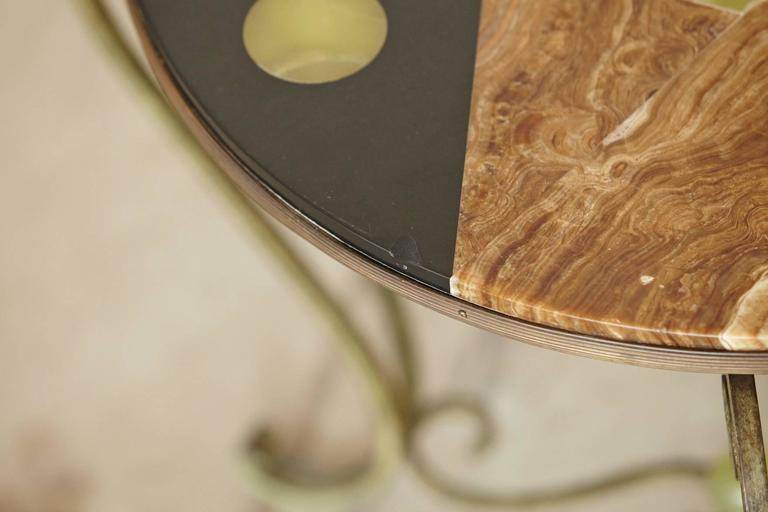 Brass Wrought Iron Side Table with Black Marble Top with Geometric Inlays, circa 1940s For Sale