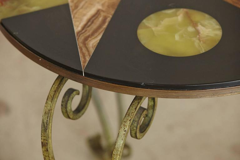 Wrought Iron Side Table with Black Marble Top with Geometric Inlays, circa 1940s For Sale 2