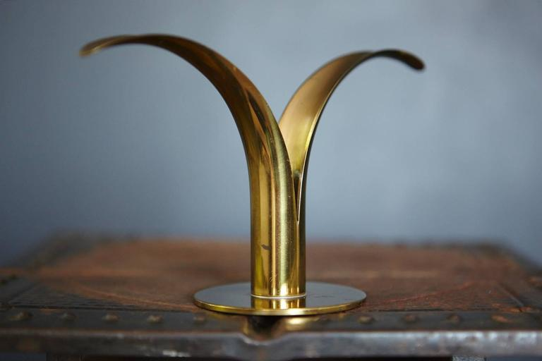 """Liljan"" Brass Candleholders by Ivar Ålenius Björk for Ystad Metal Sweden 3"